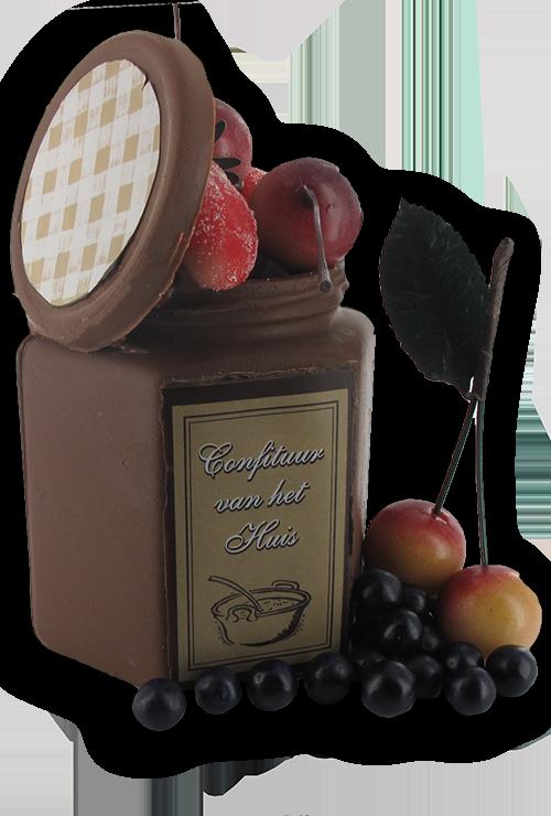 confituurpot in chocolade