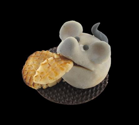 muis met koekje in marsepein