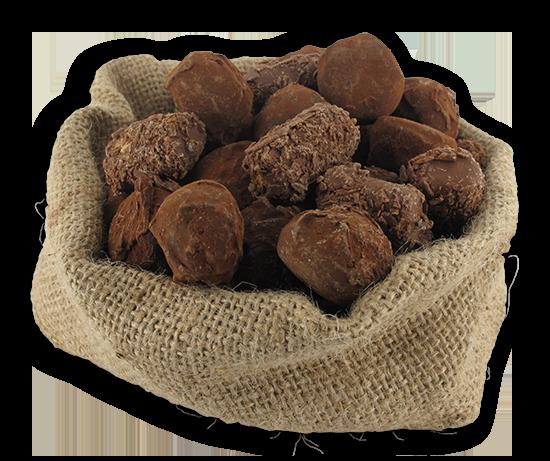chocolade truffels in een jute zakje