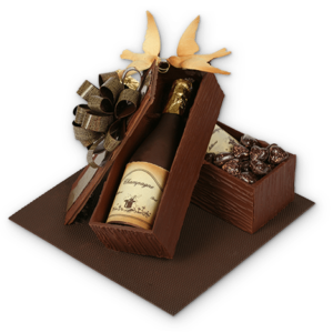 twee champagnekisten in chocolade